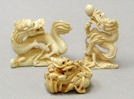 Mezinárodní Umění a řemesla - Netsuke zvířat mamuta a hroch řezbami ze slonoviny, netsuke, šperky