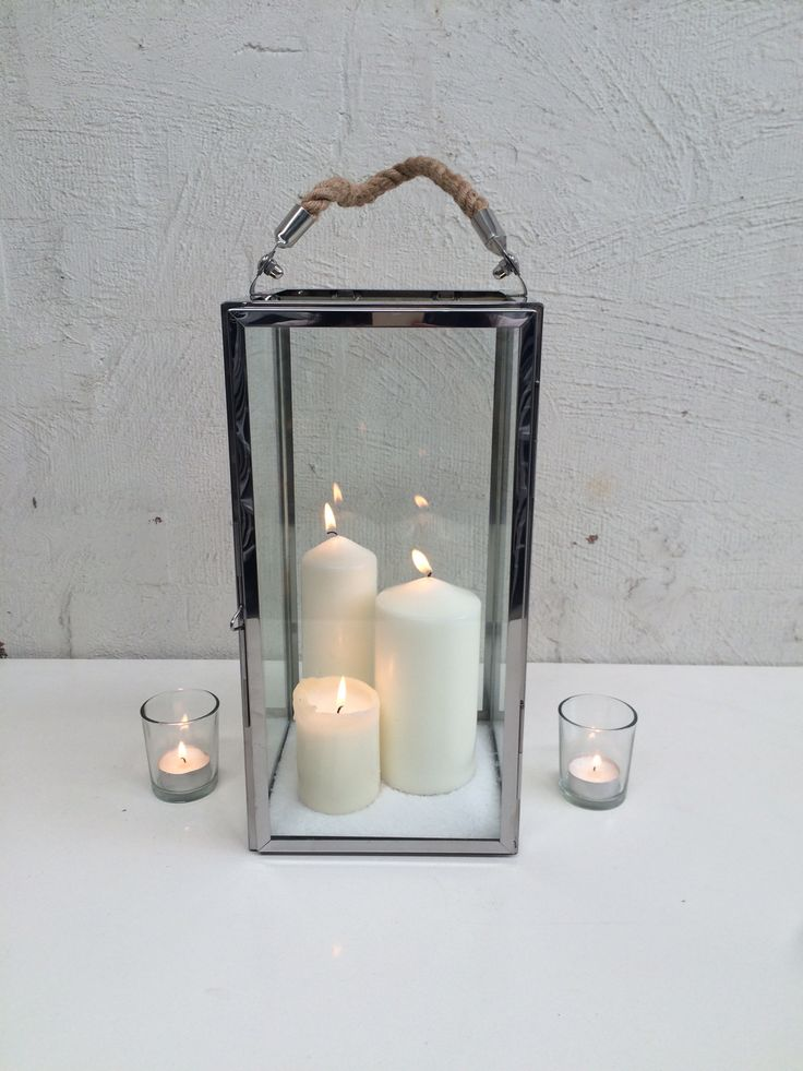 Stainless Steel Lantern with rope handle 3 x Pillar candles  Tea lights