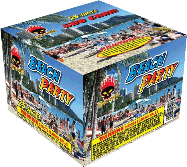 Beach Party 25 Shot - North Central Industries - www.greatgrizzly.com - MUNCIE INDIANA WHOLESALE FIREWORKS •Category: 500 Gram Cakes •Item Number: 1463 •Package Contents: 4 •Dimensions: 10 x 7 x 10 •Weight: 21lbs Brand Name: Megabanger  DESCRIPTION: 25 shots of red brocade and silver glitter with red tail; red brocade and green glitter with green tail; red brocade and blue with silver tail; blue and silver glitter with silver tail; silver star and crackles with red tail.