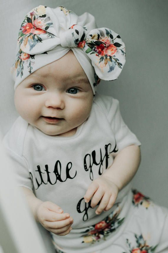 6a363724 Toddler Girl Style · Cute Baby Clothes · Adorable cotton knit knit turban  with bohemian bouquet print and knotted bow. Looking for a