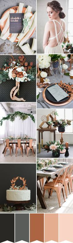 A Copper, Grey and Black Wedding Colour Palette