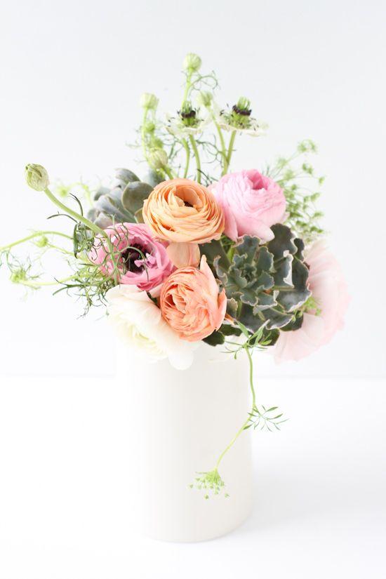 ranunculus + succulents
