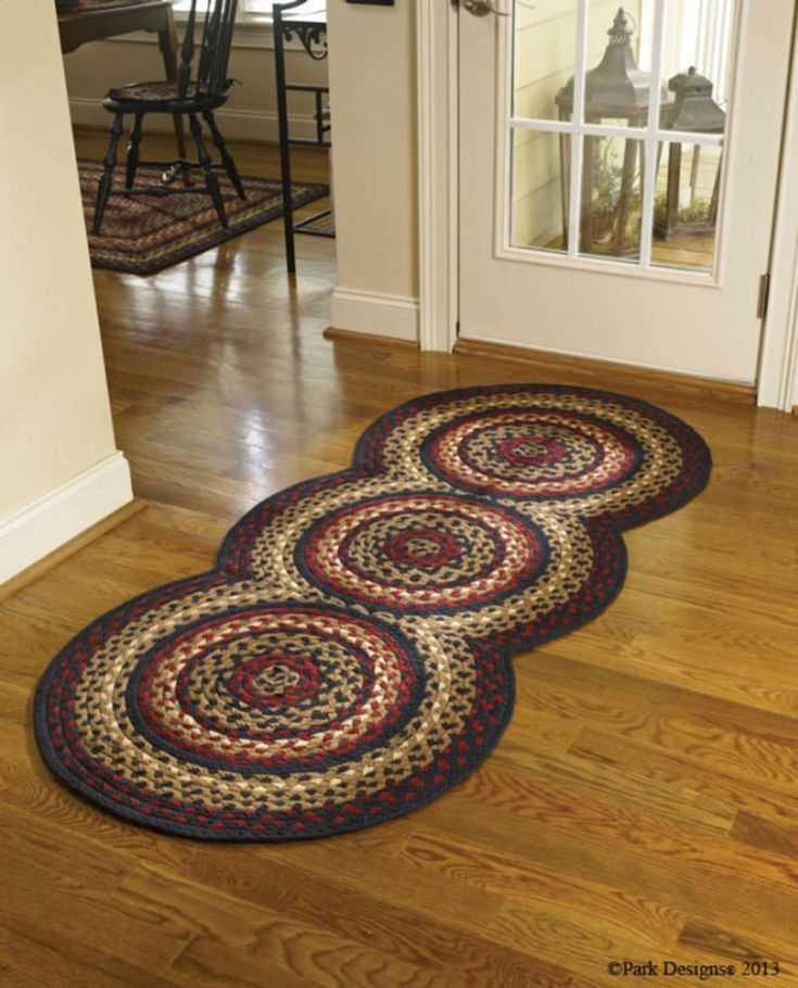 "Braided Art Circle Rug Runner Size 30"" x 72"" Black/Gold/Cream/Brick Red Colors   #ParkDesigns #Braided"
