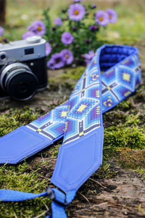 Ethnic camera strap. Tribal camera strap. Blue black by InTePro