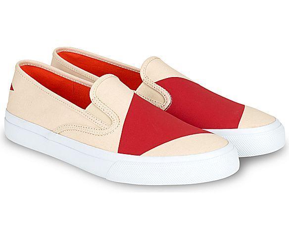 Jack Spade Cloud Nautical Color Block Canvas Sneaker, Natural/Red