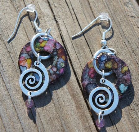 Unique Earrings, Hand-Made Jewelry, Dangling, Alcohol Ink, Metal Silver Charms and fittings, Alcohol Ink Painted Washer Pendant