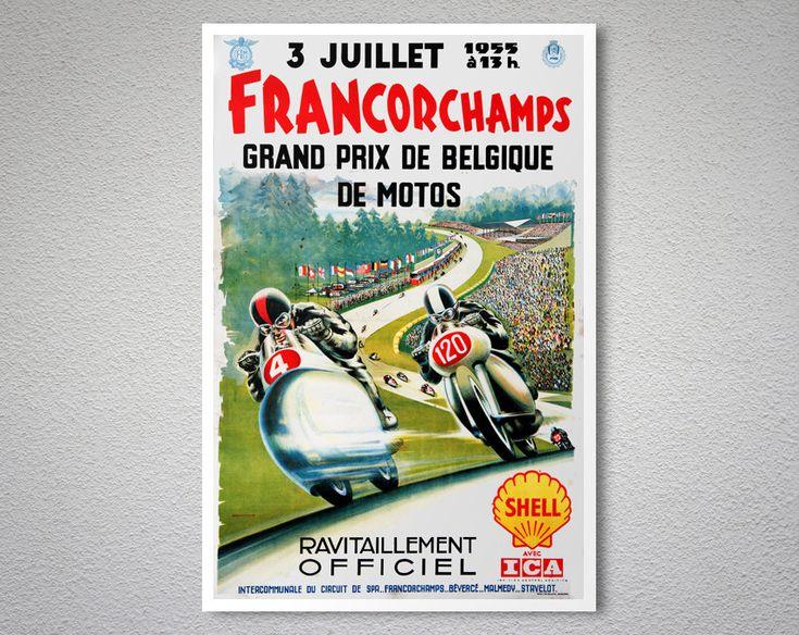Francorchamps Grand Prix de Belgique de Motos, 1955 –  Vintage Poster