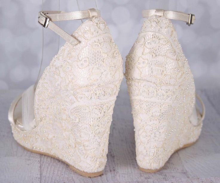 ivory wedding shoes lace wedding wedges by elliewrenweddingshoe