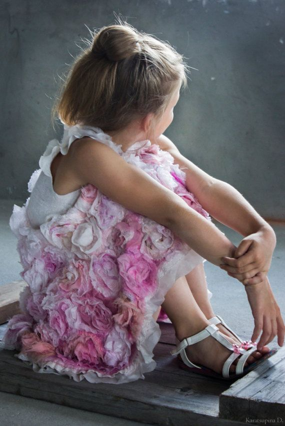 Felted Dress Rose Dress Girl Dress Felt Dress Spring