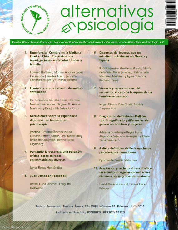 AMAPSI. Asociación Mexicana de Alternativas en Psicología - Alternativas en Psicología. Tercera Época. Año XIX. Número 32. Febrero - Julio 2015