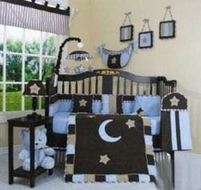 chocolate brown and blue baby moon and stars nursery crib bedding sets