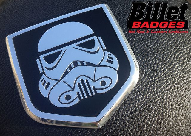 This Stormtrooper shield fits an 09_12 Dodge Grille. The badge is polished with black background paint fill. For more info visit www.billetbadges.com.  #billetbadges #Dodge #truck #stormtrooped #emblem #custom #madeinusa