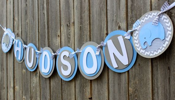 Elephant Baby Shower Banner It's a Boy por SparklingConfetti