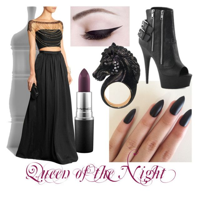 Queen of the Night by operawithpearls on Polyvore featuring mode, Pleaser, Rosantica, Nisan and MAC Cosmetics