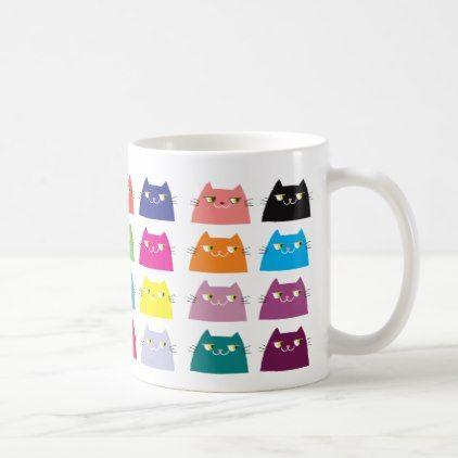 Fat Cat Pattern Cartoon Colorful Funny Vibrant Coffee Mug - pattern sample design template diy cyo customize