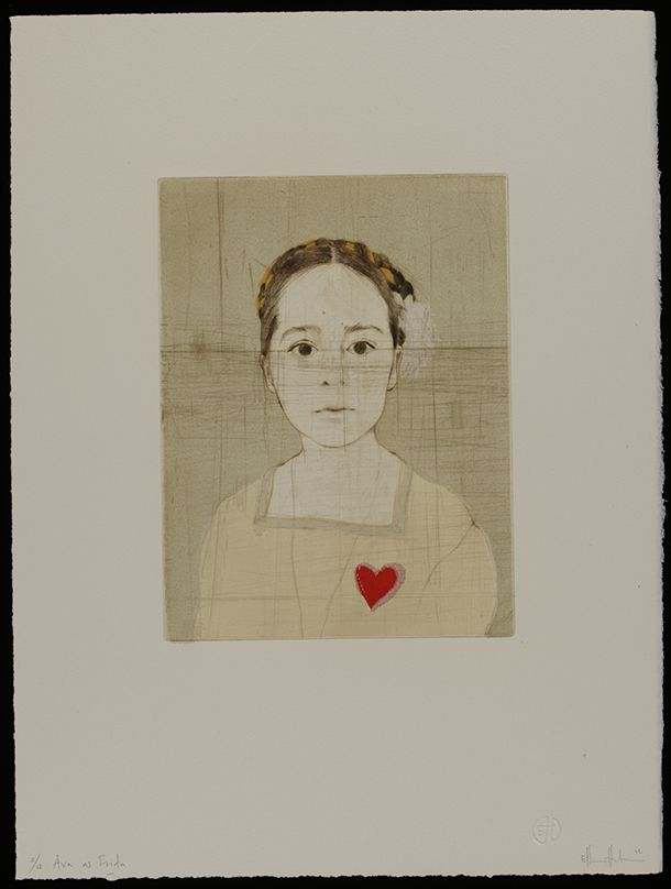 Forty Fridas; Ava as Frida, Ellen Heck, 2012, USA. Colour wooodcut and drypoint. l Victoria and Albert Museum