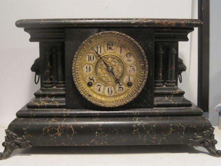 VINTAGE SETH THOMAS STYLE GILBERT BLACK MANTEL CLOCK, BLACKBIRD MODEL