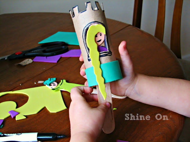 Simple Kids Craft - Toilet paper roll Rapunzel craft -great craft for a Rapunzel b-day party!