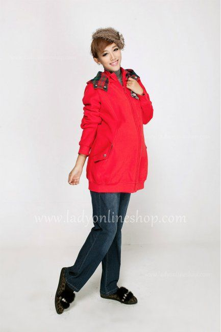 Fashion Maternity Red Detachable Hooded Cotton Outerwear