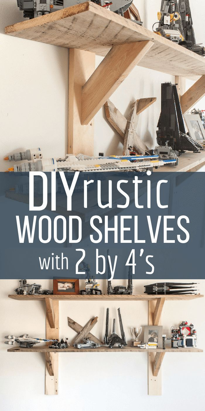 Want a unique set of shelves that don't break the bank? Create these simple and easy stylish rustic shelves with 2 by 4's and you will be laughing at how easy they can be! #TwelveOnMain #farmhouse #shelving #rusticshelving #homedecor via @TwelveOnMain