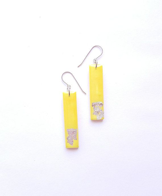 Check out this item in my Etsy shop https://www.etsy.com/ca/listing/600909783/yellow-shrimmer-dangle-bar-earrings