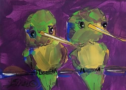 "Daily Paintworks - ""Hummers"" - Original Fine Art for Sale - © Terri Einer"