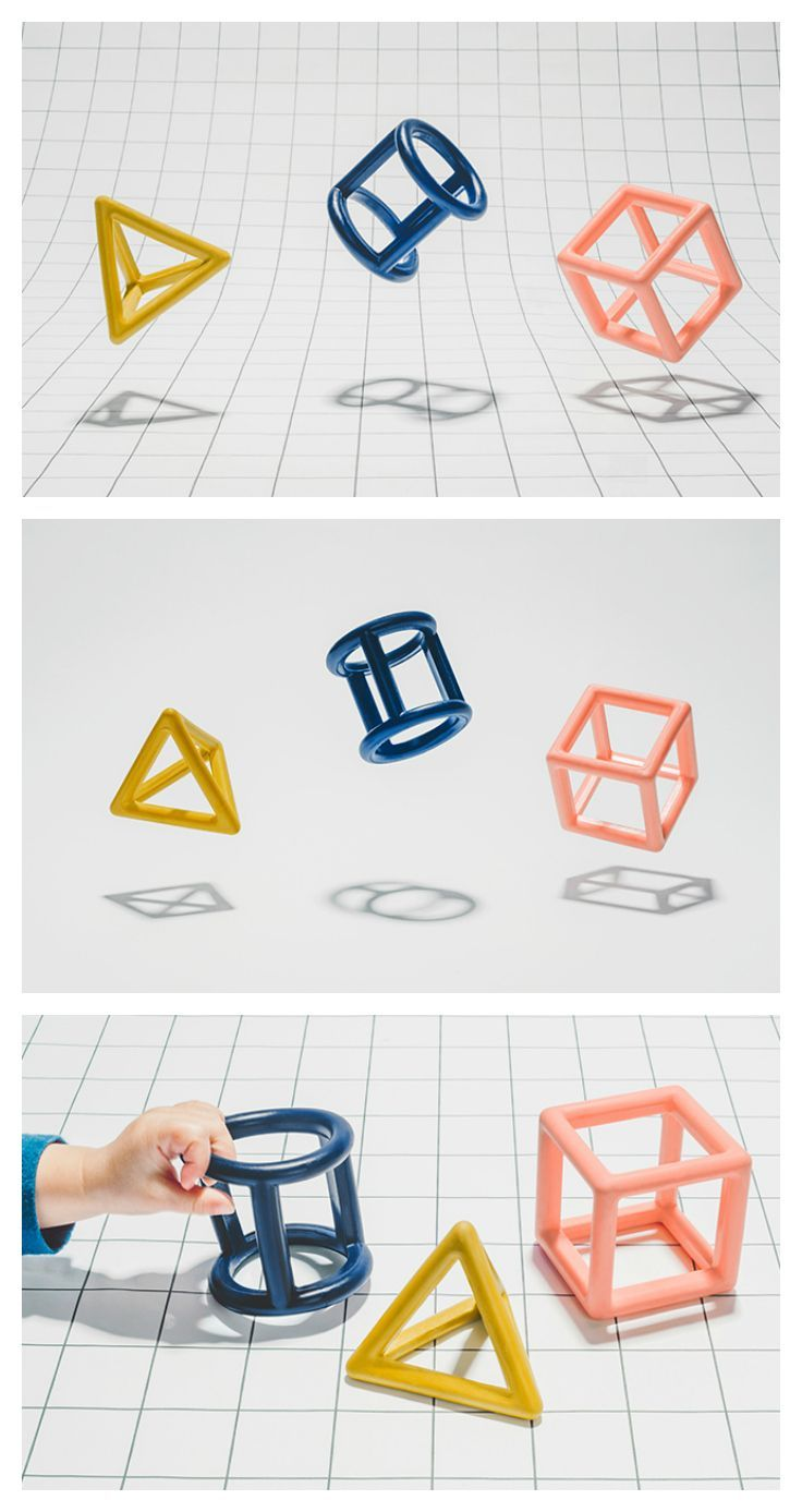 Inspired by basic shapes, Teeny Teethers are geometric rubber toys that help soothe teething gums, foster creative play, and look beautiful in the home. They are easy to grab, safe to chew, and inspiring to the imagination
