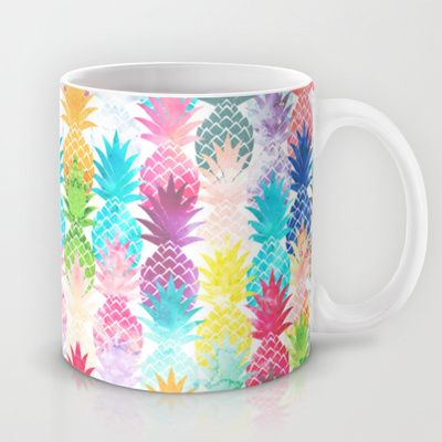 Hawaiian Pineapple Pattern Tropical Watercolor Mug by Girly Trend