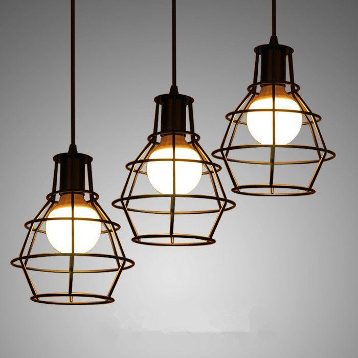 Barato Loft ferro lâmpada gaiola pingente com E27 lâmpada Industrial Vintage…                                                                                                                                                                                 Mais