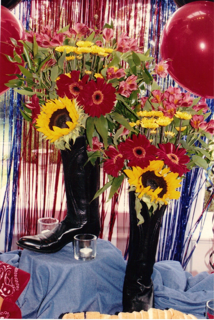 Love the flowers in boots idea!!! Country Themed Sweet 16 Party in Roswell, GA | The Party Girl Events
