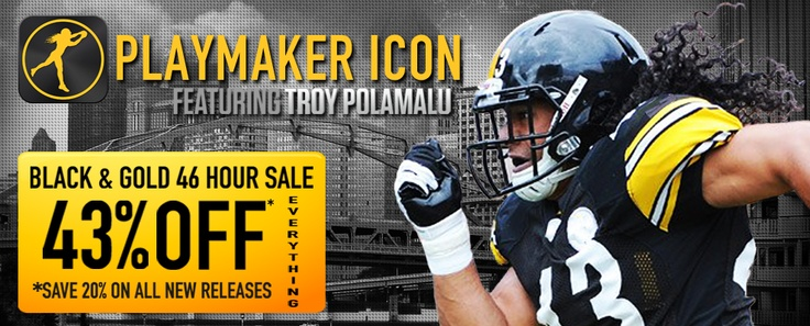 Brand Legendary and Troy Polamalu Legendary Black & Gold Friday, Saturday and Sunday SALE.  43% OFF most Playmaker Icon apparel and 43% OFF ALL MIKE MODANO USA HOCKEY ICON AND LEGENDARY SWISH ICON BASKETBALL APPAREL.  The www.BrandLegendary.com Black & Gold Sale ends Sunday after the Steelers vs Browns game that starts at 1pm ET tomorrow.