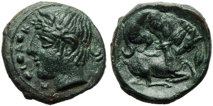 Sicily, Piakos, Tetras, c. 425-420 BC; AE (g 1,38; mm 19; h 7); PIAK, laureate head of river-god l.; on l. pellets, Rv. Dog rending stag; on r., oak leaf. CNS III, p. 198, n. 2/4. Rare, dark green patina, about extremely fine.