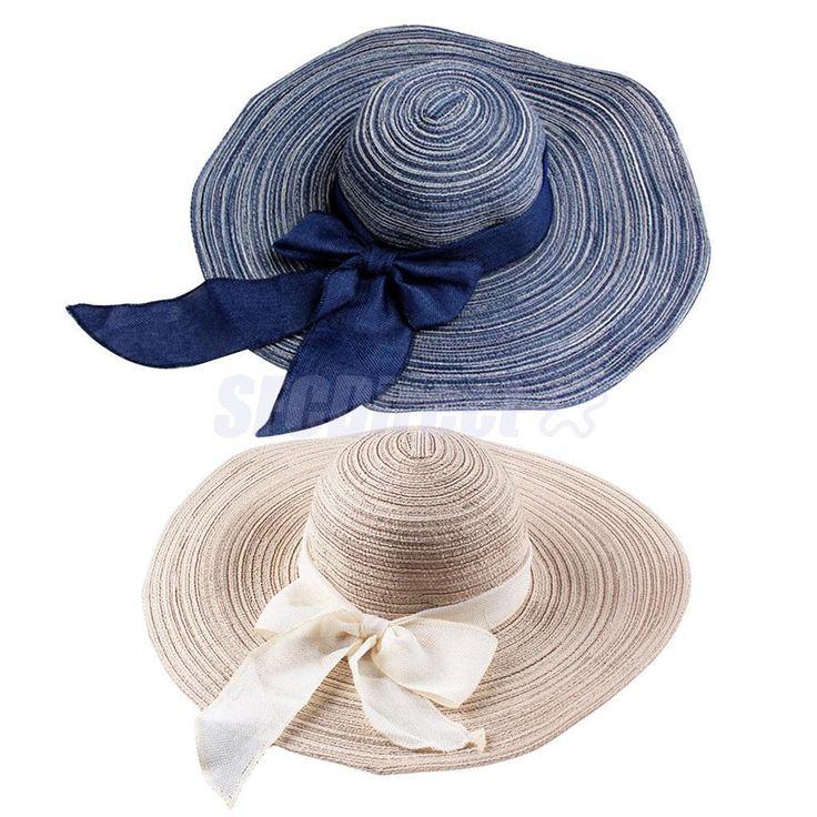 2 Pieces Elegant Ladies Sun Hat Wide Brim Summer Beach Cap Straw Cap