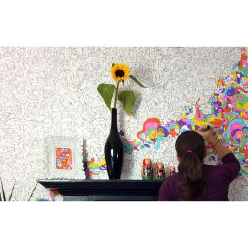 Color-In Wallpaper Designs - Give your kids', or even your own room a little bit of individual pep with these color-in wallpaper coverings. A perfect companion for those, ahem, longer stays in the bathroom.