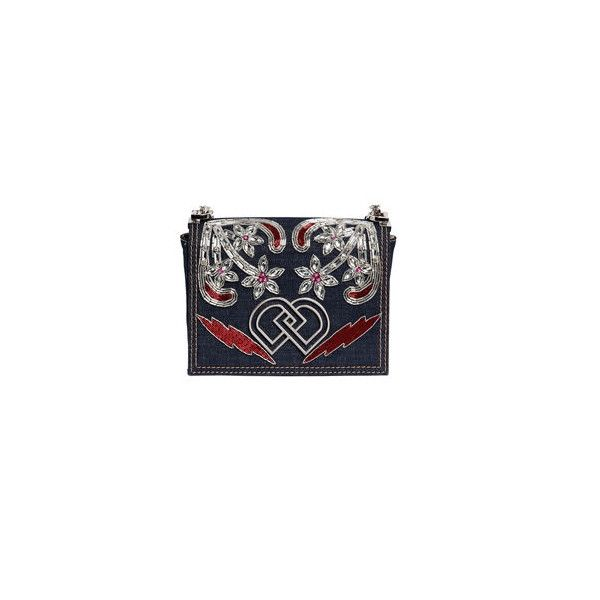 Shop Dsquared2 Dd Jeweled Denim Shoulder Bag in MULTI DENIM at... (5439765 PYG) ❤ liked on Polyvore featuring bags, handbags and shoulder bags