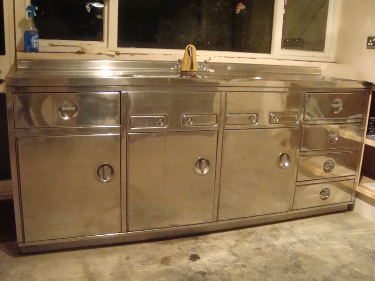 60's industrial steel double sink unit