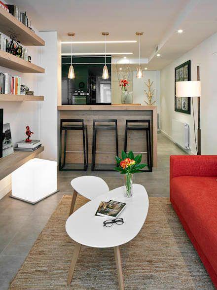 salón - open space: Salones de estilo moderno de Molins Interiors