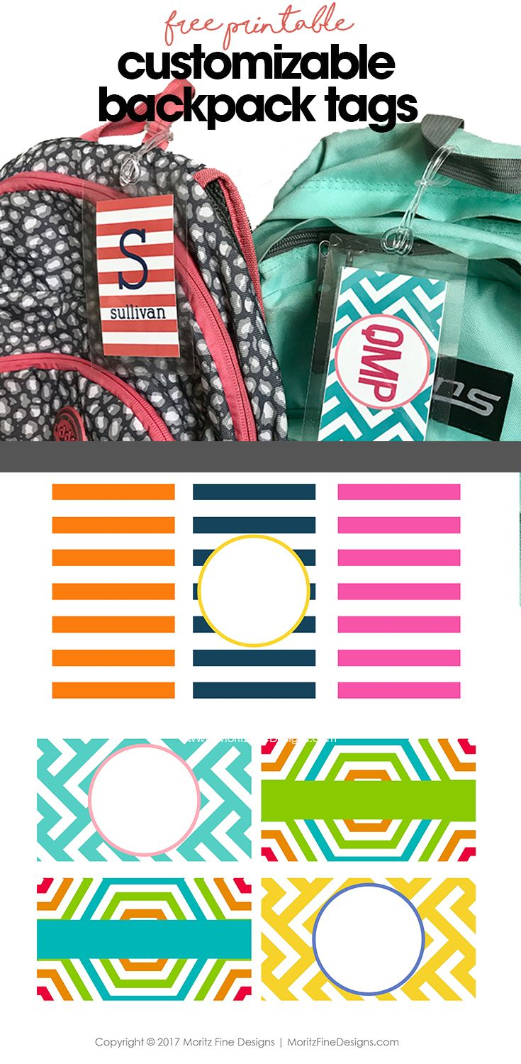 DIY backpack tags | free printable | customizable backpack tag for kids | back to school backpack tags