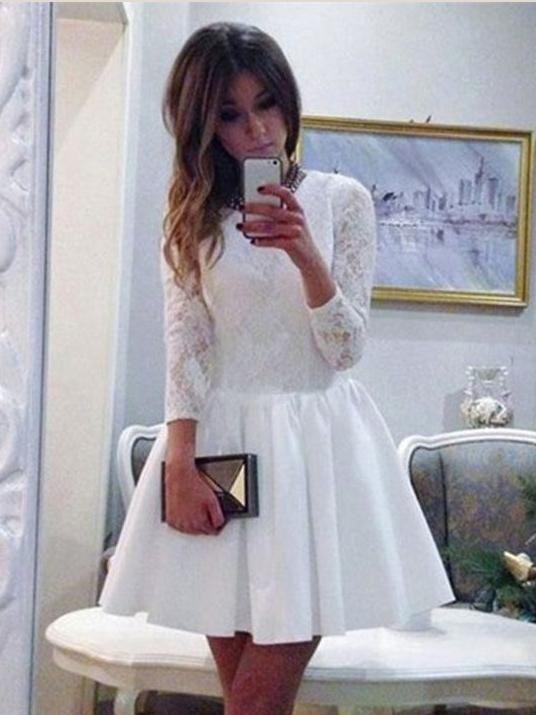 c3d7601faf32b Long Sleeve Homecoming Dresses White Lace A Line Short Prom Dress Party  Dress JK704
