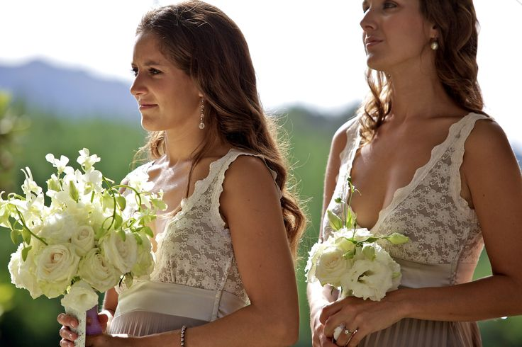 { Darren & Amanda } white brides maids bouquets with white roses & lisanthus