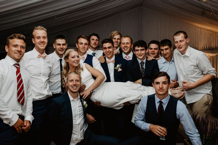 The bride and her gents! Photo by Benjamin Stuart Photography #weddingphotography #bride #gents #groupshot #weddingparty