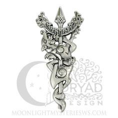 ODIN Warrior NORSE WOLF Pendant .925 Silver BATTLE Pelt SPEAR Rune Dryad Design
