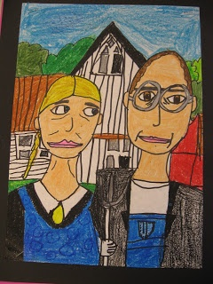 """2nd Graders are studying the life and artwork of the artist Grant Wood. They learned about how his most famous artwork, American Gothic, is continually used in our culture to represent the classic hard working """"regular folk"""" in America at that time. We went on a hunt to find this image in our everyday lives and kids were excited to report that they found this picture in SO MANY places! We then made our own drawings of the American Gothic and wrote about what we saw in this image."""