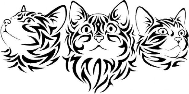 Tribal Katzen Vektor. Katze Gesicht mit Tribals gemacht Kostenlose Vektoren