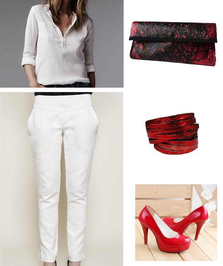 Clutch rojo.  Pulsera Cinta Doble , colección Fusión http://www.kairaweb.com.ar/fusiones-piezas-unicas1/pulseras1/