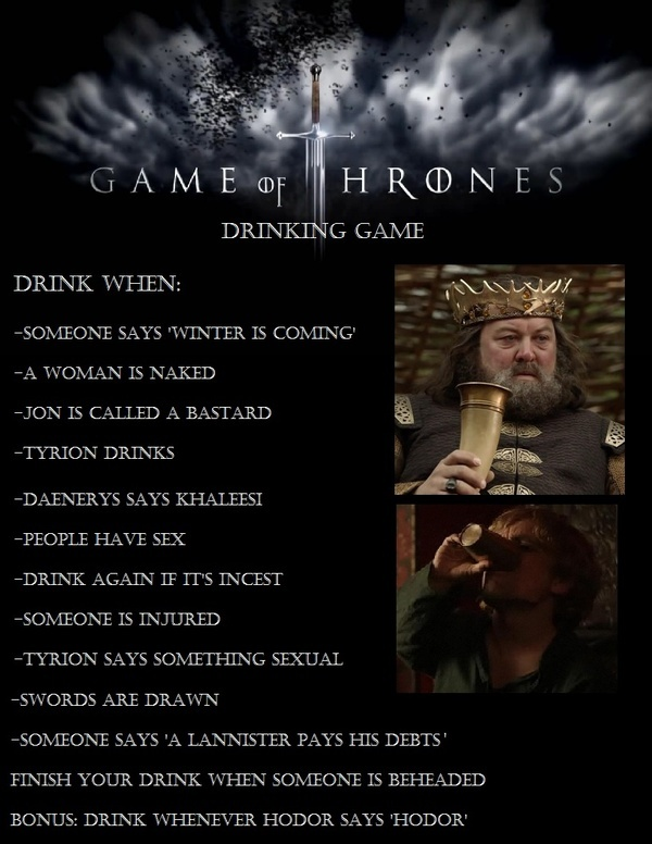 Drinking game for Game of Thrones fans
