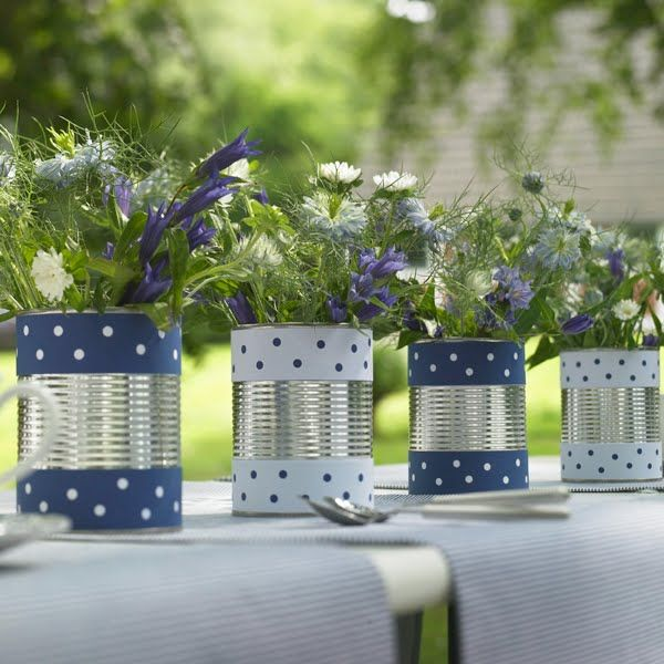spotty can vases ~ soft, loose garden flowers, blues, purples and whites