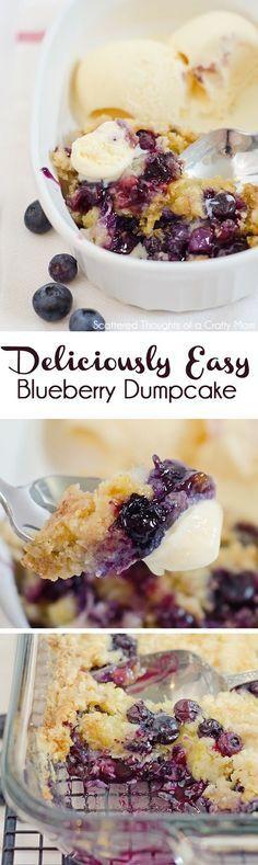 The most delicious Blueberry Dump Cake recipe ever!  #blueberries #dessertrecipes