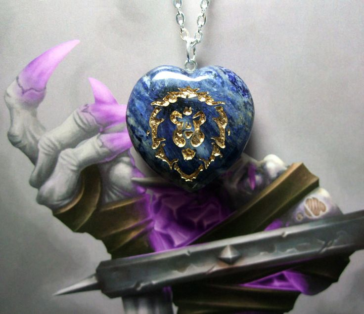 Love of the ALLIANCE World of Warcraft inspired REAL STONE sodalite Heart pendant