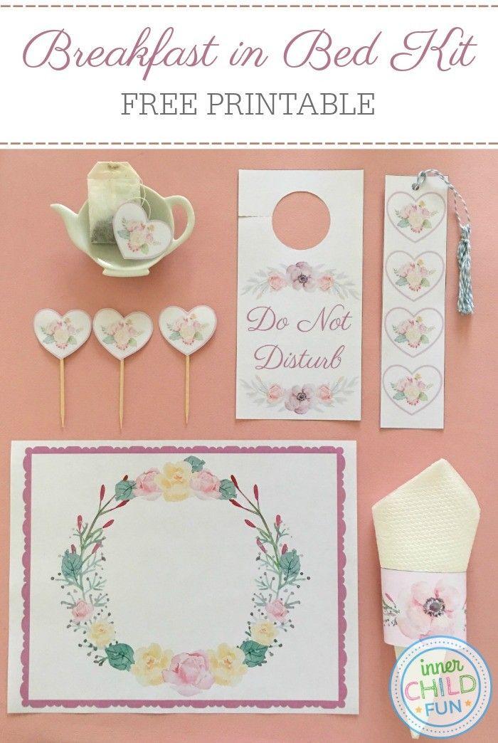Free Printable Breakfast In Bed Kit Inner Child Fun Breakfast In Bed Valentines For Kids Valentines